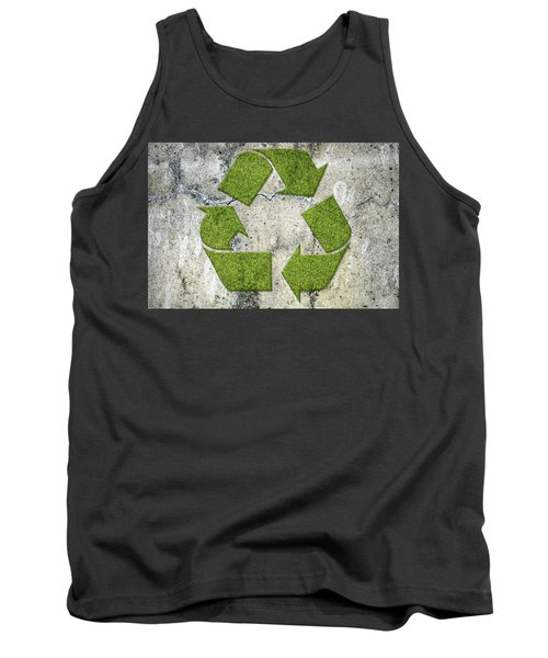 Green Recycling Sign On A Concrete Wall Tank Top by GoodMood Art
