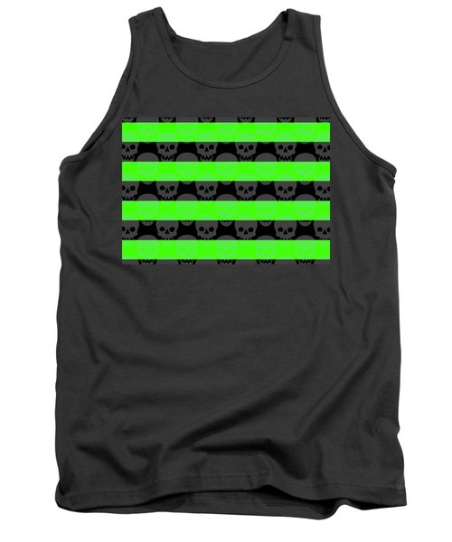 Green Skull Stripes Tank Top by Roseanne Jones