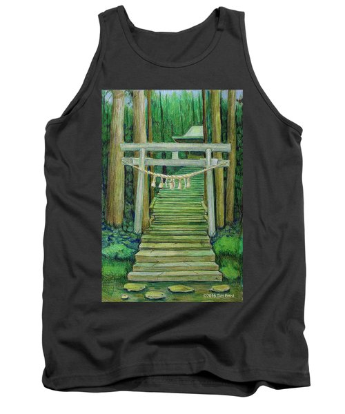 Green Stairway Tank Top by Tim Ernst