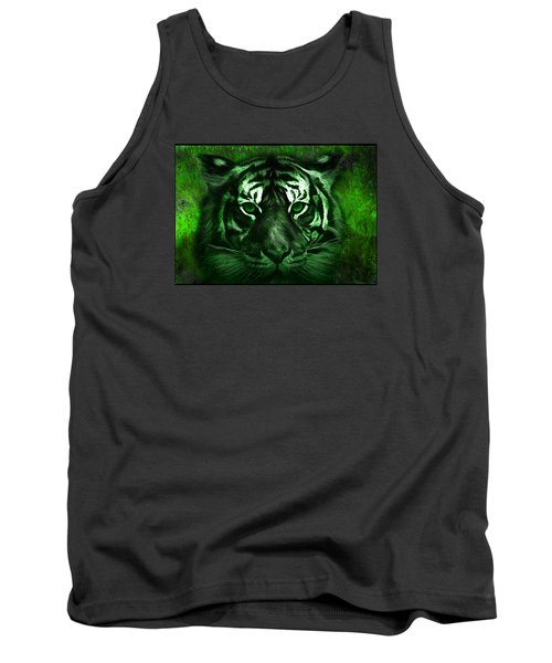 Green Tiger Tank Top by Michael Cleere