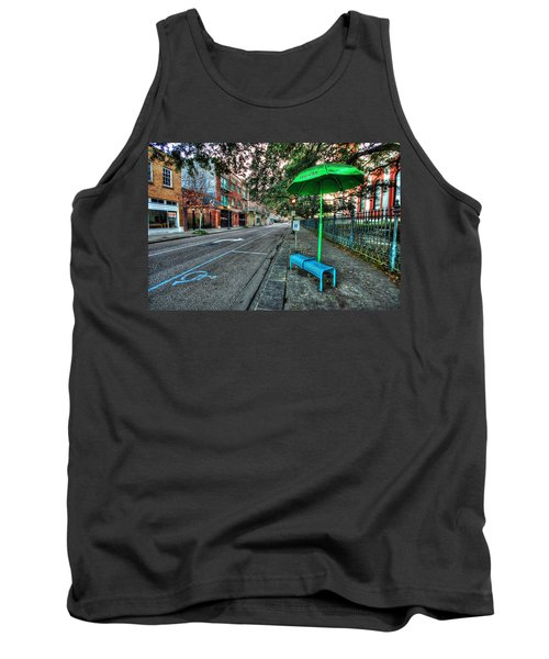 Green Umbrella Bus Stop Tank Top