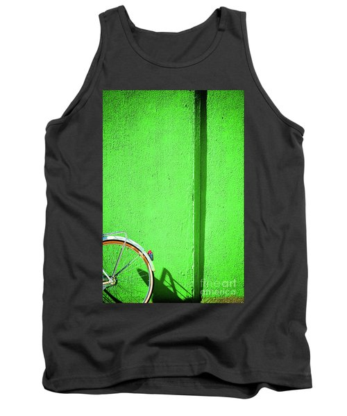 Tank Top featuring the photograph Green Wall And Bicycle Wheel by Silvia Ganora
