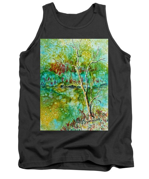 Tank Top featuring the painting Greens Of Late Summer by Carolyn Rosenberger
