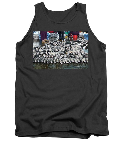 Tank Top featuring the photograph Grey Mullet Fish For Sale At The Fish Market by Yali Shi