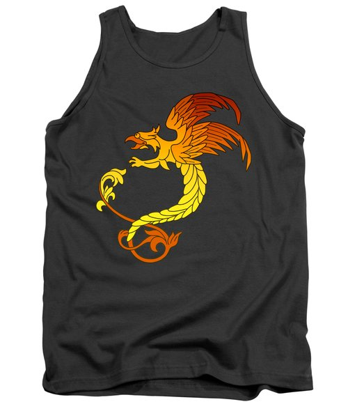 Griffin Griffon Gryphon In Flaming Colours Tank Top by Heidi De Leeuw