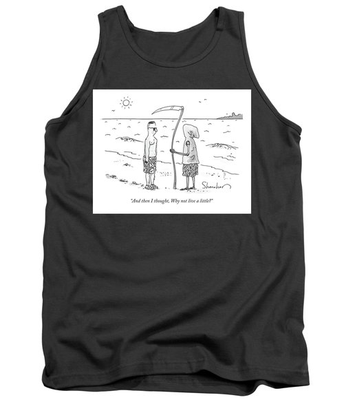 Grim Reaper Wearing A Swimsuit At The Beach. Tank Top