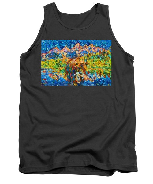 Tank Top featuring the painting Grizzly Catch In The Tetons by Dan Sproul