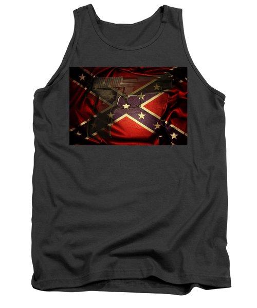 Gun And Confederate Flag Tank Top