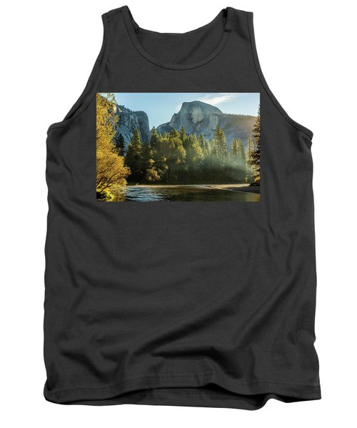 Half Dome And Merced River Autumn Sunrise Tank Top