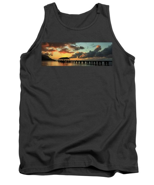 Hanalei Pier Sunset Panorama Tank Top
