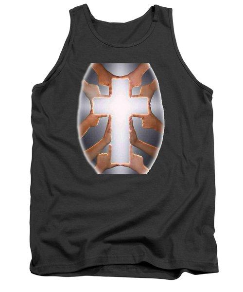 Hands Cross T-shirt Tank Top by Herb Strobino