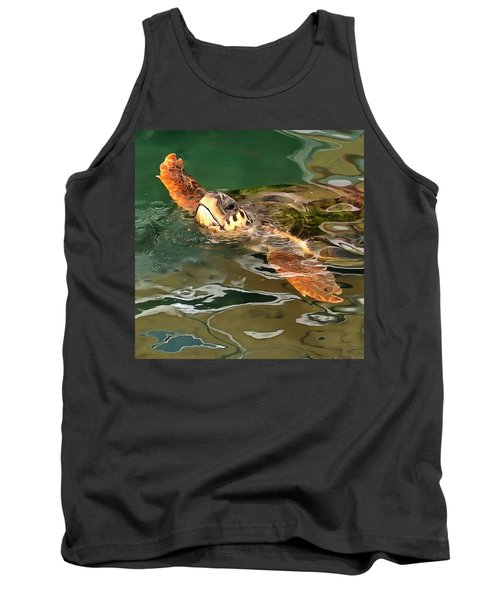 Hands Up For A Plastic Free Ocean Loggerhead Turtle Tank Top