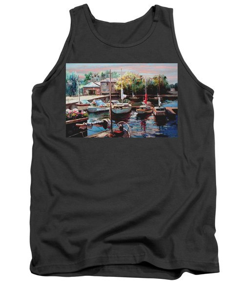 Harbor Sailboats At Rest Tank Top by Ron Chambers