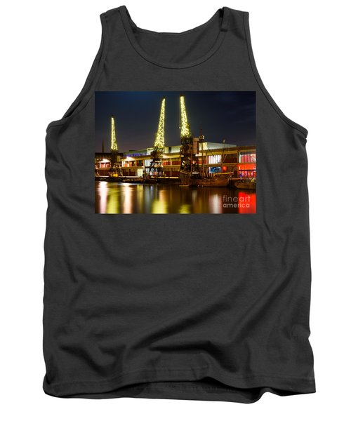 Tank Top featuring the photograph Harbour Cranes by Colin Rayner
