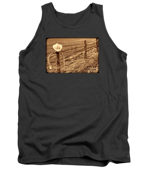 Hat And Lasso On Fence Tank Top by American West Legend By Olivier Le Queinec