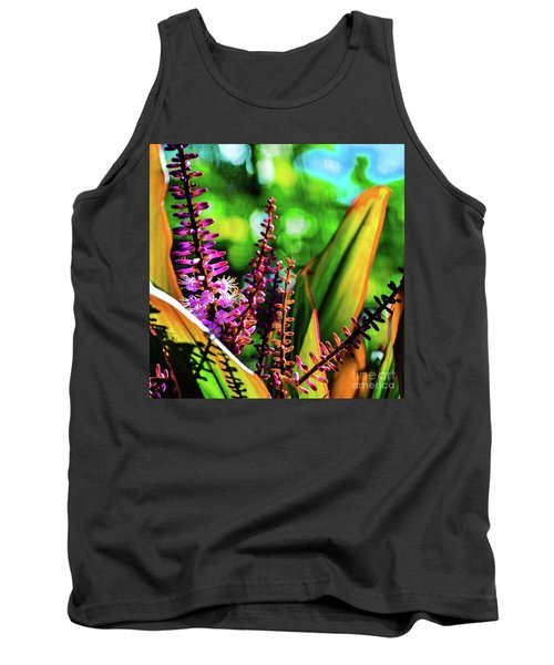 Hawaii Ti Leaf Plant And Flowers Tank Top