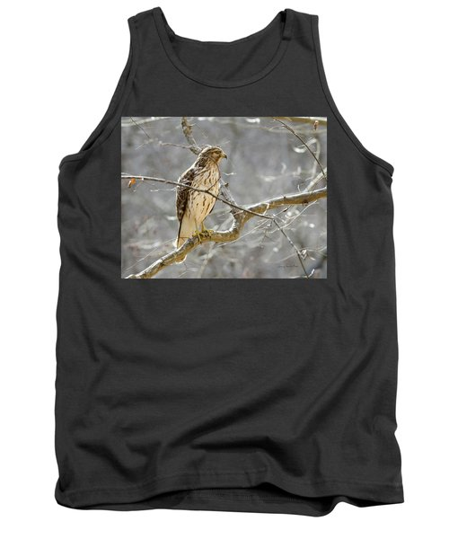 Tank Top featuring the photograph Hawk On Lookout by George Randy Bass