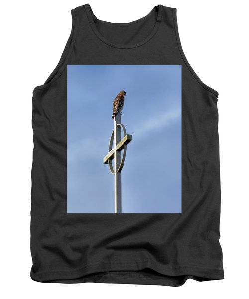 Hawk On Steeple Tank Top by Richard Rizzo
