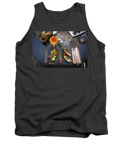 Tank Top featuring the photograph Health Fish Dish Served At A French Restaurant by Semmick Photo