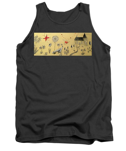 Heart Cottage Red 2 Tank Top by Kathy Spall