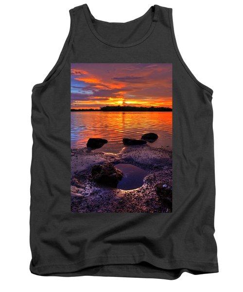 Heart Shaped Pool At Sunset Over Lake Worth Lagoon On Singer Island Florida Tank Top