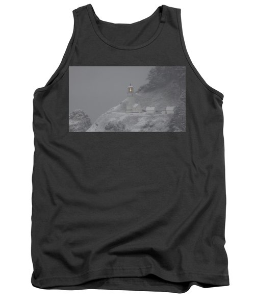Heceta Lighthouse Snowstorm Tank Top by Kenny Henson