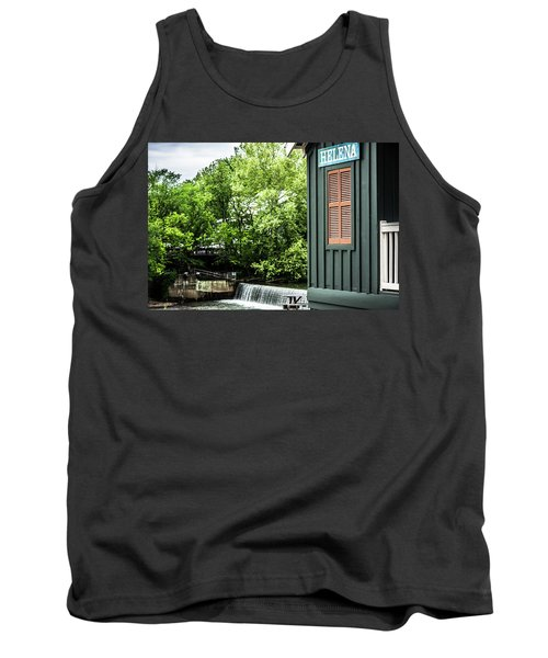 Tank Top featuring the photograph Helena Sign By Buck Creek by Parker Cunningham