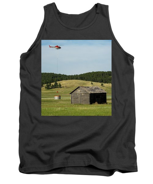 Helicopter Dips Water At Heliwell Tank Top by Bill Gabbert