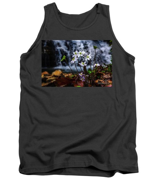 Tank Top featuring the photograph Hepatica And Waterfall by Thomas R Fletcher