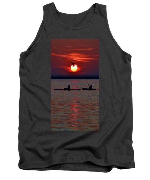 Heron And Kayakers Sunset Tank Top