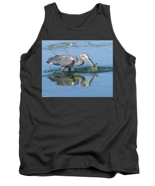 Great Blue Heron Catches A Fish Tank Top by Keith Boone