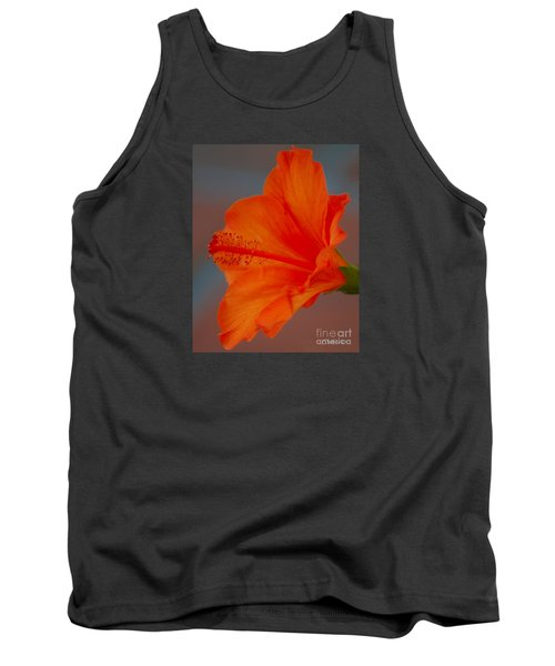 Hot Orange Hibiscus Tank Top