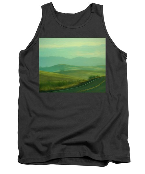 Hills In The Early Morning Light Digital Impressionist Art Tank Top
