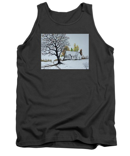 Tank Top featuring the painting Hilltop Church by Jack G  Brauer