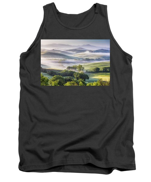 Hilly Tuscany Valley At Morning Tank Top