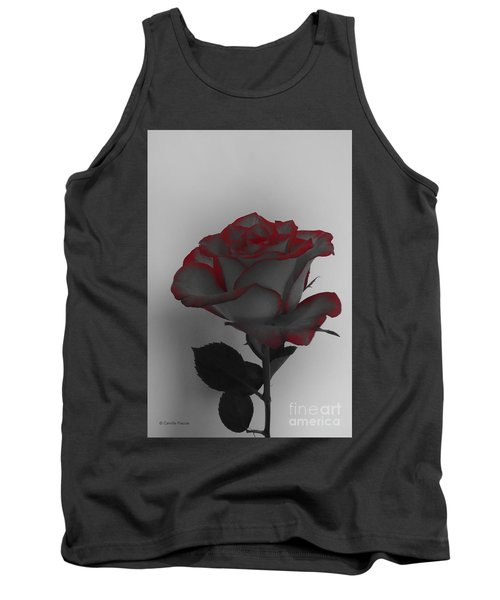 Hints Of Red- Single Rose Tank Top
