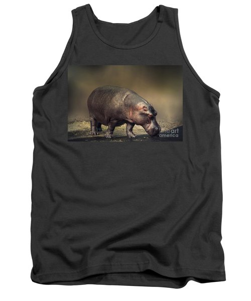 Tank Top featuring the photograph Hippo by Charuhas Images
