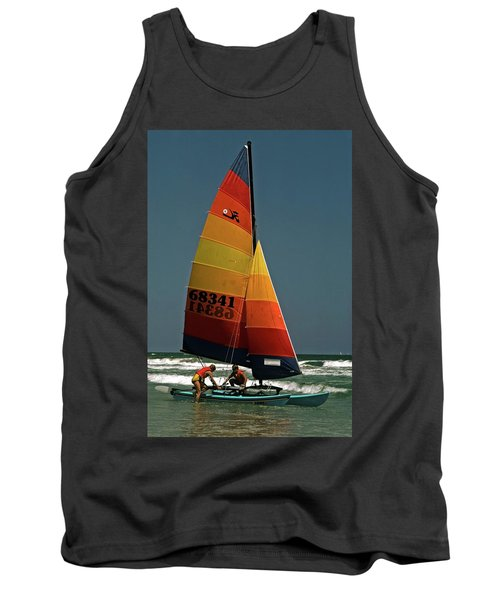 Hobie Cat In Surf Tank Top by Sally Weigand
