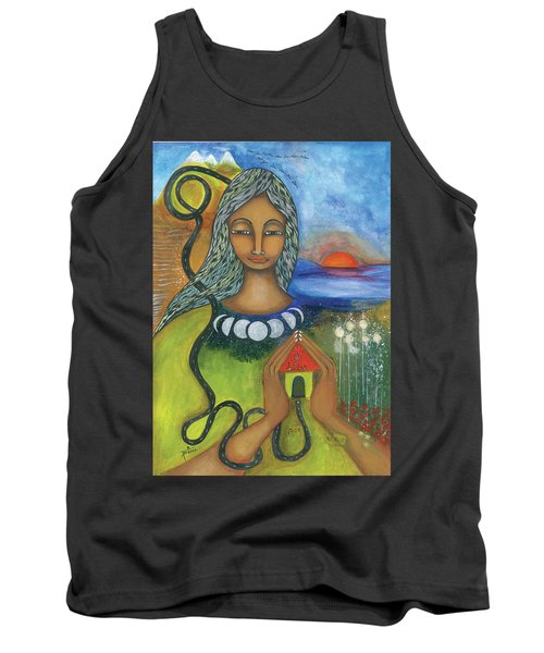 Tank Top featuring the mixed media Home Is Where Your Heart Is by Prerna Poojara