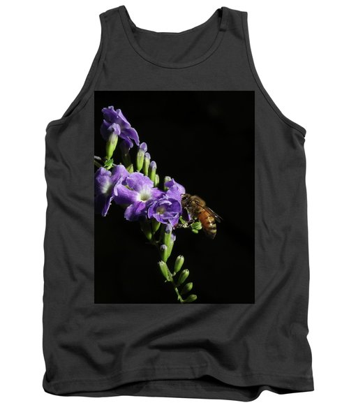 Honeybee On Golden Dewdrop Tank Top by Richard Rizzo