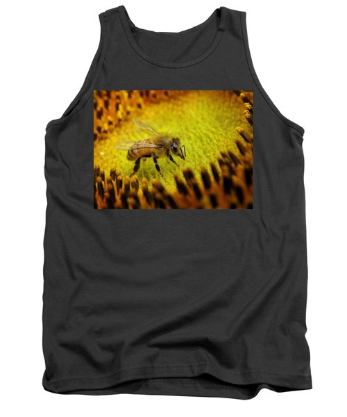 Tank Top featuring the photograph Honeybee On Sunflower by Chris Berry