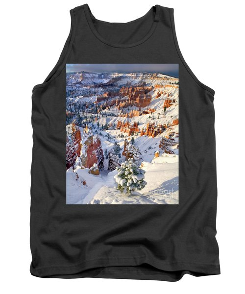 Tank Top featuring the photograph Hoodoos And Fir Tree In Winter Bryce Canyon Np Utah by Dave Welling
