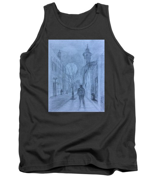 Tank Top featuring the painting  Moon Of Hope by Laila Awad Jamaleldin