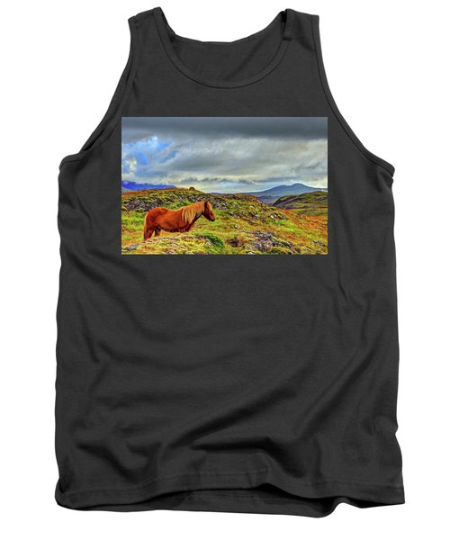 Tank Top featuring the photograph Horse And Mountains by Scott Mahon