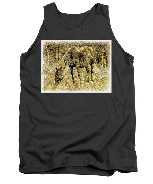 Horse Grazing On Pasture 2 Tank Top
