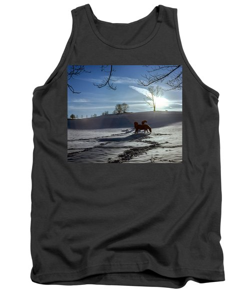 Horses In The Snow Tank Top by Greg Reed