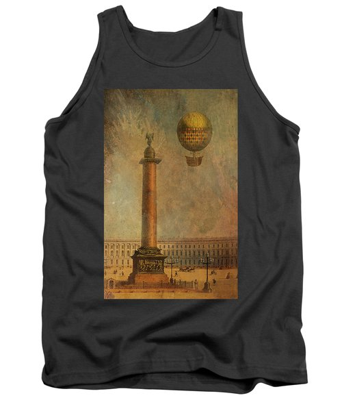 Tank Top featuring the digital art Hot Air Balloon Over St Petersburg And The Hermitage by Jeff Burgess