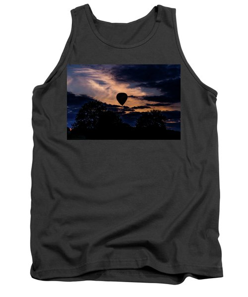 Hot Air Balloon Silhouette At Dusk Tank Top