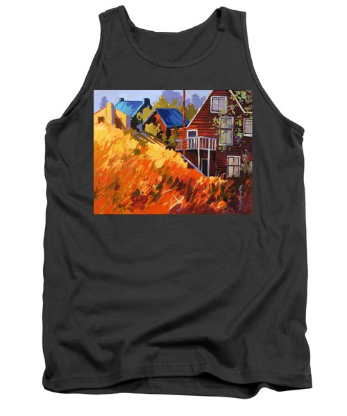 Tank Top featuring the painting Houses On The Hill by Rae Andrews