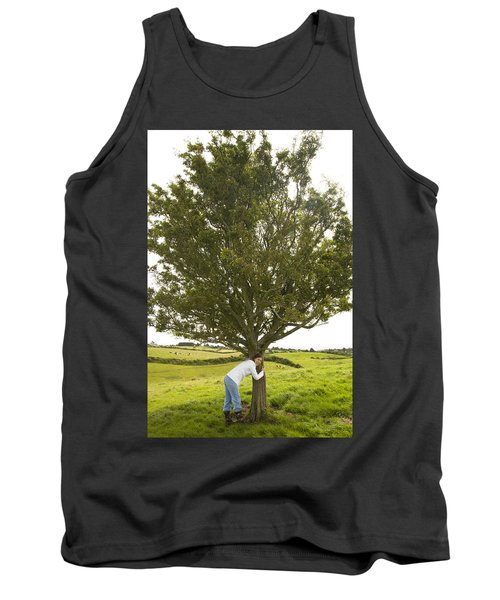 Tank Top featuring the photograph Hugging The Fairy Tree In Ireland by Ian Middleton